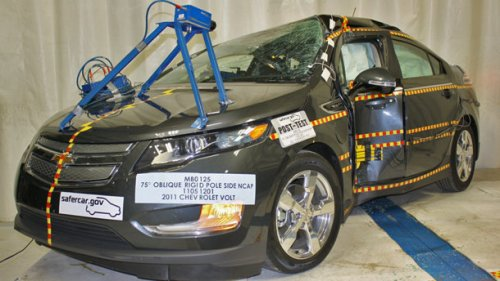 Chevy Volt crash...and an exploding lithium-ion battery days or weeks later!