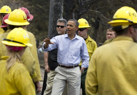Obama interrupting Colorado Springs fire fighting to make a campaign stop....